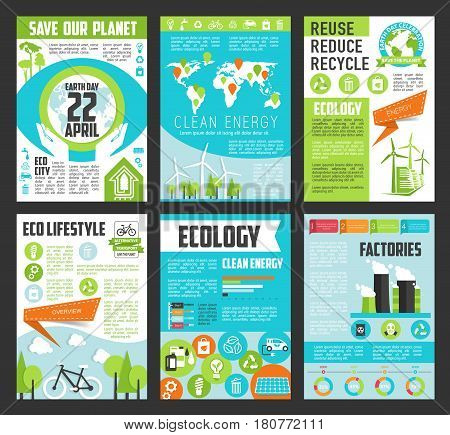 Ecology poster template set. Clean energy, green house, eco lifestyle, sustainable industrial factories and recycle, reuse, reduce banners with globe, tree, solar panel, wind turbine, eco transport