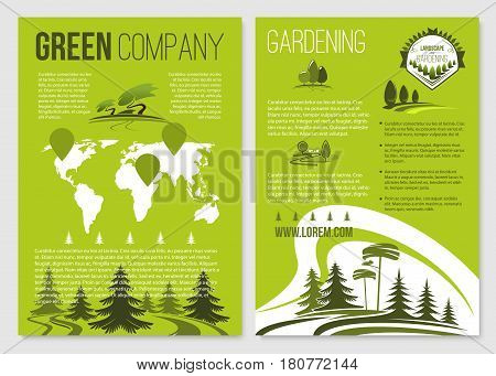 Gardening service or green company posters set. Garden landscape design and tree park planting service vector of outdoor nature ecology and eco greenery environment. Urban city or village concept
