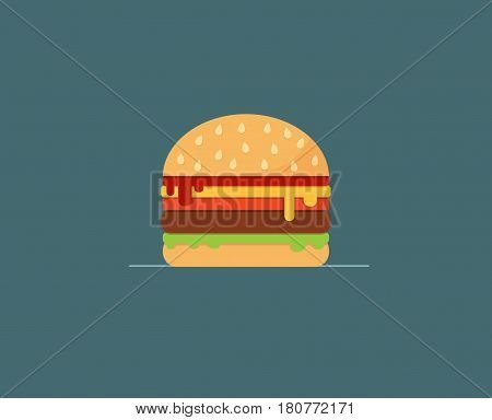 Cheeseburger on Blue Background Icon. Flat Design Vector Illustration