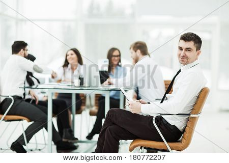 financial Manager background business meeting business partners. the photo has a empty space for your text.