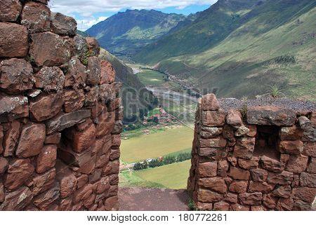 Remains of an Inca  Tower in Pisac in the Urubamba valley near Cusco, Peru