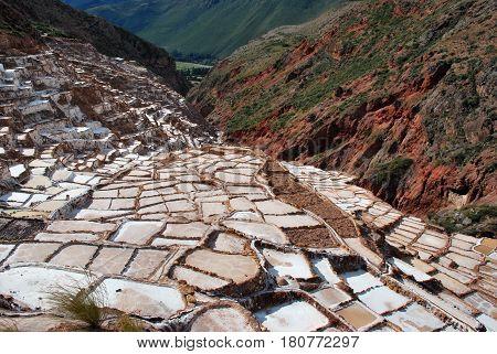 Salt Ponds in Maras in the Urubamba valley, Peru