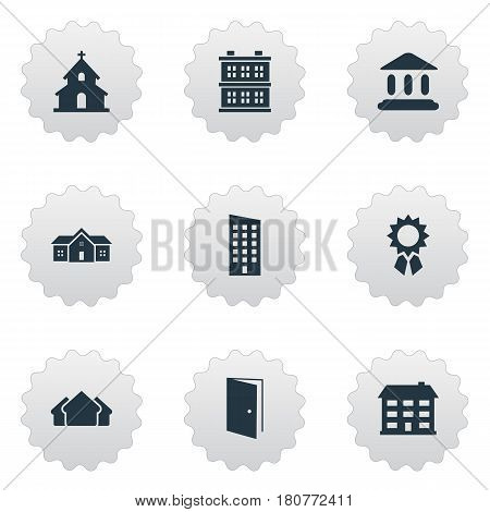 Vector Illustration Set Of Simple Structure Icons. Elements Shelter, Block, School And Other Synonyms Booth, Gate And Shack.