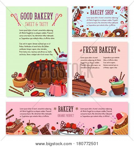 Bakery desserts menu template or vector posters set of pastry cakes and biscuits, pudding and cupcakes or chocolate tortes. Fruit muffins, cheesecake or brownie confectionery and gingerbread cookies