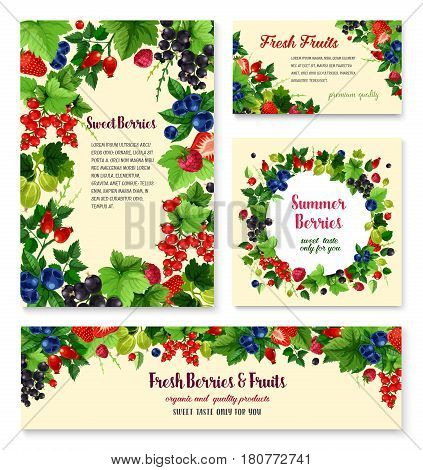 Berries set of blueberry, black currant and cranberry, fresh raspberry and gooseberry. Farm harvest fruits of strawberry, juicy briar and wild cowberry or redcurrant for jam or juice and market shop