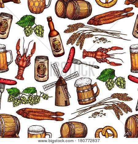 Beer and snacks seamless pattern of vector beer mug or barrel, hop and barley ears and windmill, grill or barbecue sausage and dried fish kipper or lobster and pretzel for Oktoberfest pub or bar