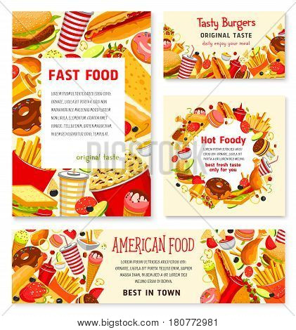 Fast food restaurant posters of meals, snacks or desserts and drinks. Vector menu for fastfood burgers, sauces and hamburgers, hot dog sandwich and pizza with french fries, ice cream or donut