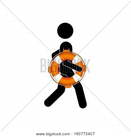 black silhouette pictogram male with lifeguard float vector illustration