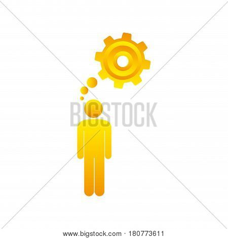 colorful pictogram man thought in a pinion vector illustration