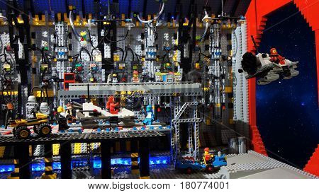 Quito, Pichincha / Ecuador - January 9 2016: Takeoff reconnaissance spacecraft from inside the intergalactic ship. Model built with plastic blocks