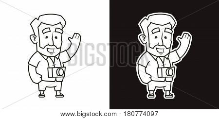 Traveler man with photo camera waving his hand. Vector illustration of a character. Black and white. Thin lines. Isolated on white and dark background.