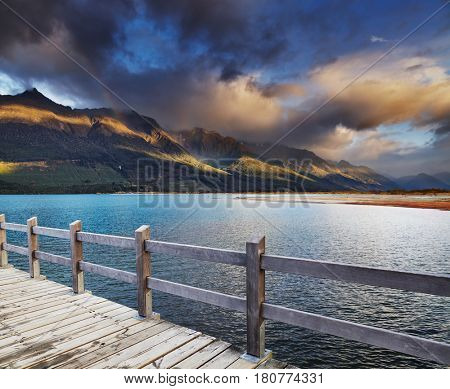 Wakatipu Lake at sunrise, Glenorchy, New Zealand