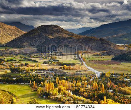 Autumn landscape, near Queenstown, New Zealand