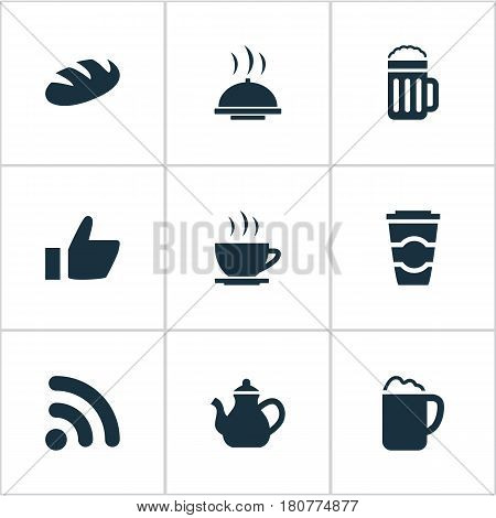 Vector Illustration Set Of Simple Food Icons. Elements Beer, Favorite, Tea And Other Synonyms Pot, Serving And Takeaway.