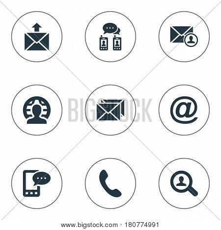 Vector Illustration Set Of Simple Connect Icons. Elements Epistle Author, Correspondence, Postal And Other Synonyms E-Mail, Talking And Symbol.
