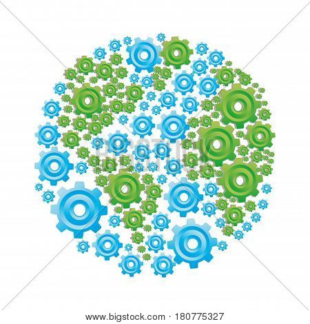 colorful circular shape with pattern of pinions vector illustration