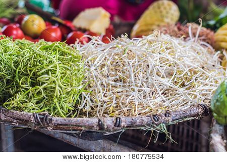 The Soybean Sprouts In The Market Are Vietnamese. Asian Cuisine Concept.