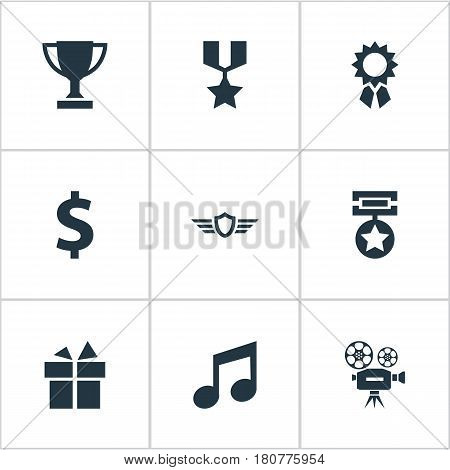 Vector Illustration Set Of Simple Achievement Icons. Elements Melody, Guard, Present And Other Synonyms Dollar, Victory And Gift.