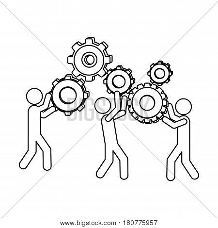 silhouette pictogram people and industry progress vector illustration