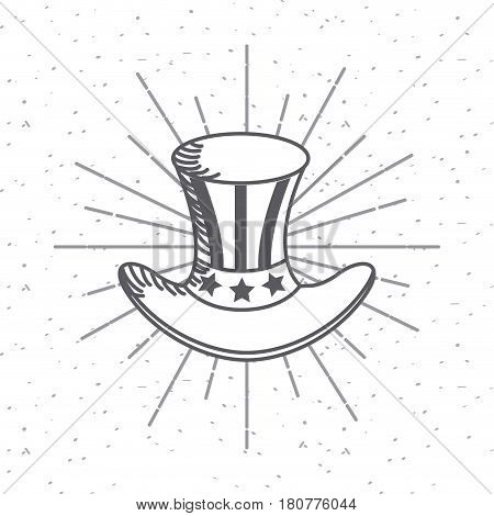 top hat icon over white background. usa indepence day design. vector illustration