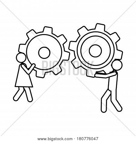 silhouette pictogram man and woman holding a pinions vector illustration