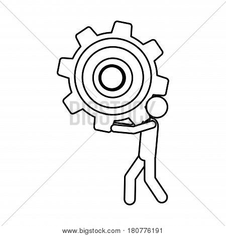 silhouette pictogram man holding a pinion vector illustration