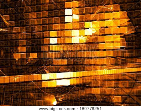 Sci-fi or hi-tech background - abstract computer-generated image. Fractal art: chaos glowing golden cubes. Technolody backdrop with light effects. For web design, covers, posters.