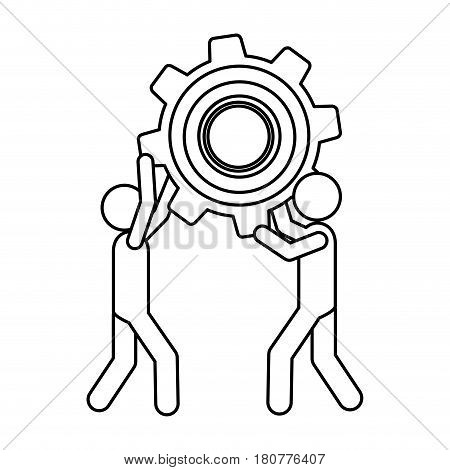silhouette pictogram men holding a pinion vector illustration