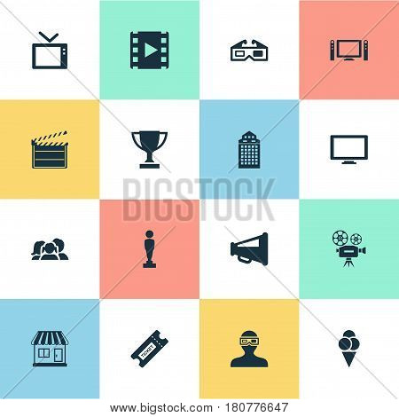 Vector Illustration Set Of Simple Movie Icons. Elements Grocery, Home Cinema, Spectator And Other Synonyms Camcorder, Video And Grocery.