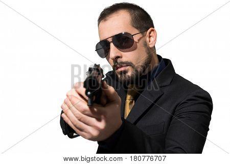 Man using a gun