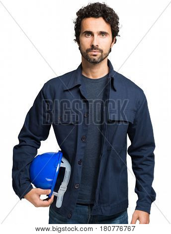 Portrait of an handsome engineer. Isolated against a white background