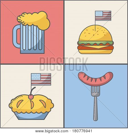 usa indepence day related icons. colorful design. vector illustration