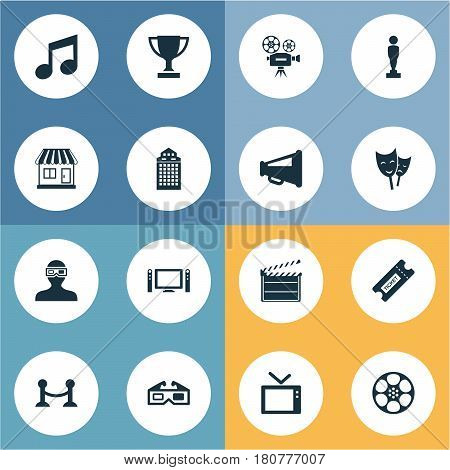 Vector Illustration Set Of Simple Movie Icons. Elements Television, Theatre, Filmstrip And Other Synonyms Board, Reward And Television.