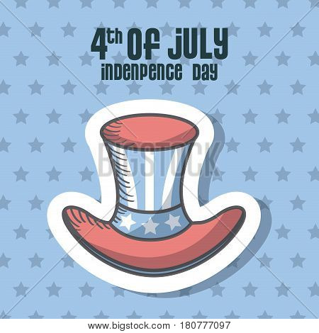 usa indepence day card with top hat icon. colorful design. vector illustration