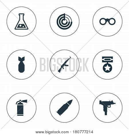 Vector Illustration Set Of Simple Army Icons. Elements Firearm, Extinguisher, Kalashnikov And Other Synonyms Ammunition, Scanner And Glasses.