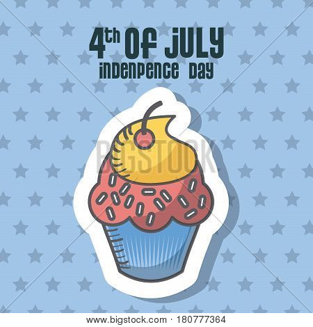 usa indepence day card with cupcake icon over blue background. colorful design. vector illustration