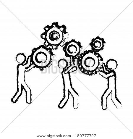 blurred silhouette pictogram people and industry progress vector illustration
