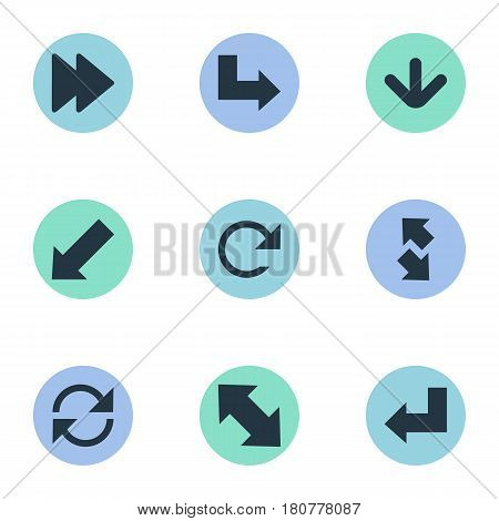 Vector Illustration Set Of Simple Pointer Icons. Elements Left-Down, Refresh, Pointer And Other Synonyms Recycle, Down Left Pointing And Down.