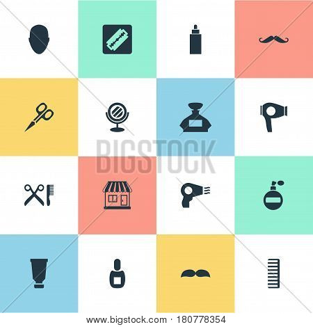 Vector Illustration Set Of Simple Barber Icons. Elements Container, Hackle, Scent And Other Synonyms Store, Clipper And Beard.