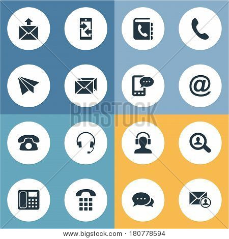 Vector Illustration Set Of Simple Contact Icons. Elements Correspondence, House Phone, Earphone And Other Synonyms Search, Cellular And Sign.