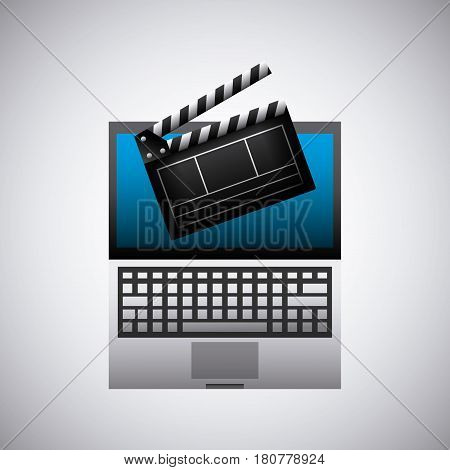 clapboard and computer icon over white background. colorful design. vector illustration