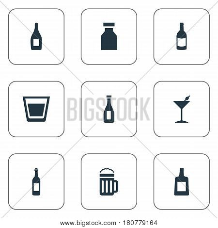 Vector Illustration Set Of Simple Beverage Icons. Elements Martini, Beverage, Vial And Other Synonyms Drugs, Whiskey And Bottle.