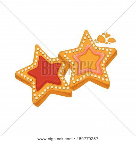 Star shape biscuits with colorful caramel inside and framed by sugar dots isolated on white. Tasty cracker vector illustration, fresh pastry in flat design. Patisserie cookies confectionery