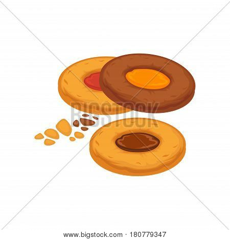 Round biscuits with colorful caramel and chocolate inside isolated on white. Tasty cracker vector illustration, fresh pastry in flat design. Patisserie cookies confectionery, baked homemade snack