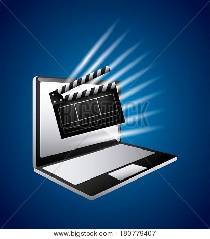 clapboard and computer icon over blue background. colorful design. vector illustration