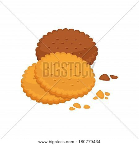 Chocolate and vanilla taste biscuit round shape with crumbs isolated on white background. Cracker vector illustration, fresh pastry in flat design. Patisserie cookie, delicious confectionery logo