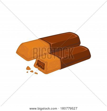 Bars of chocolate with biscuit inside stuffed with cocoa filling isolated on white. Tasty bakery vector illustration, fresh pastry in flat design. Patisserie cookies, delicious confectionery dessert