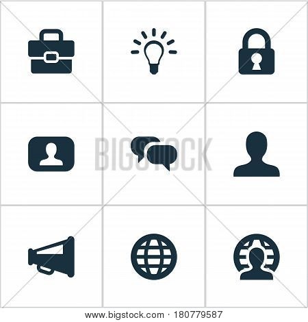 Vector Illustration Set Of Simple Business Icons. Elements Megaphone, Representative, Padlock And Other Synonyms Protected, Interlocutor And Suitcase.