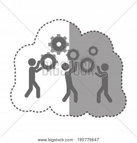 sticker monochrome silhouette pictogram people and industry progress vector illustration