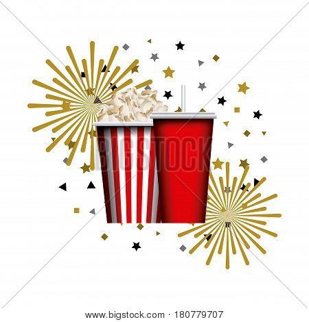 pop corn bucket and soft drink cup over white background. colorful design. vector illustration